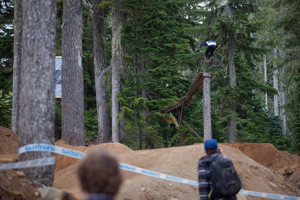 Semenuk with a man sized 360 off the top drop.
