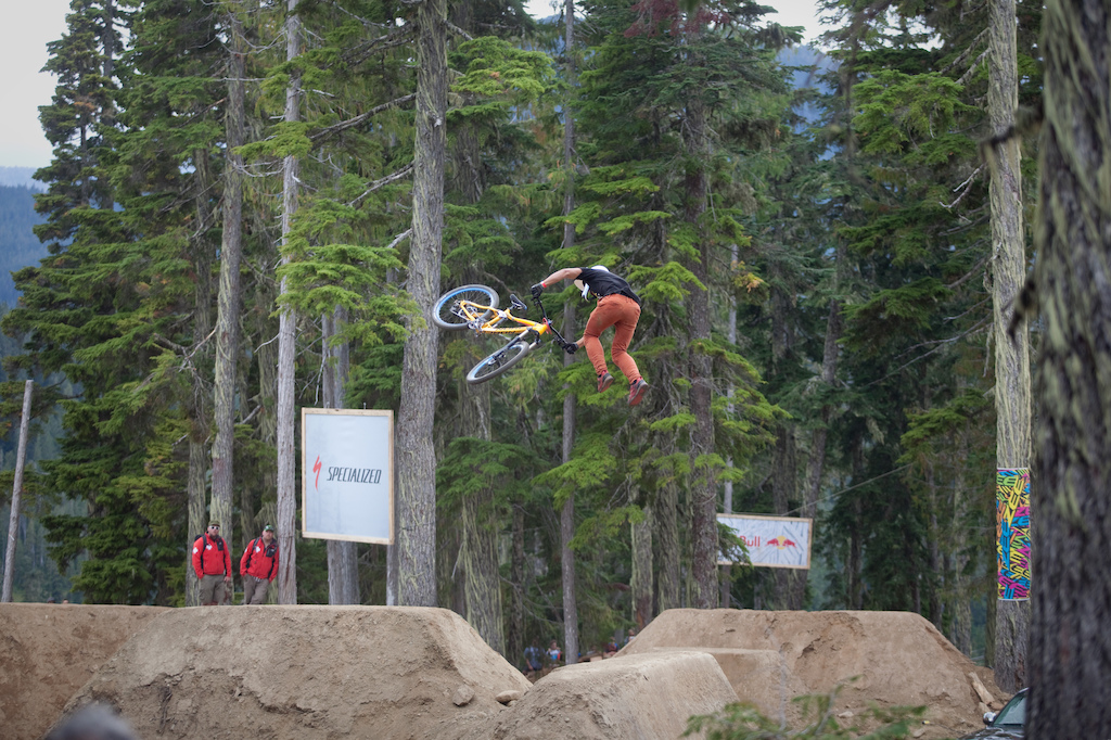 Sam Dueck was rollin out some super slow tailwhips over the hip. Style for miles.