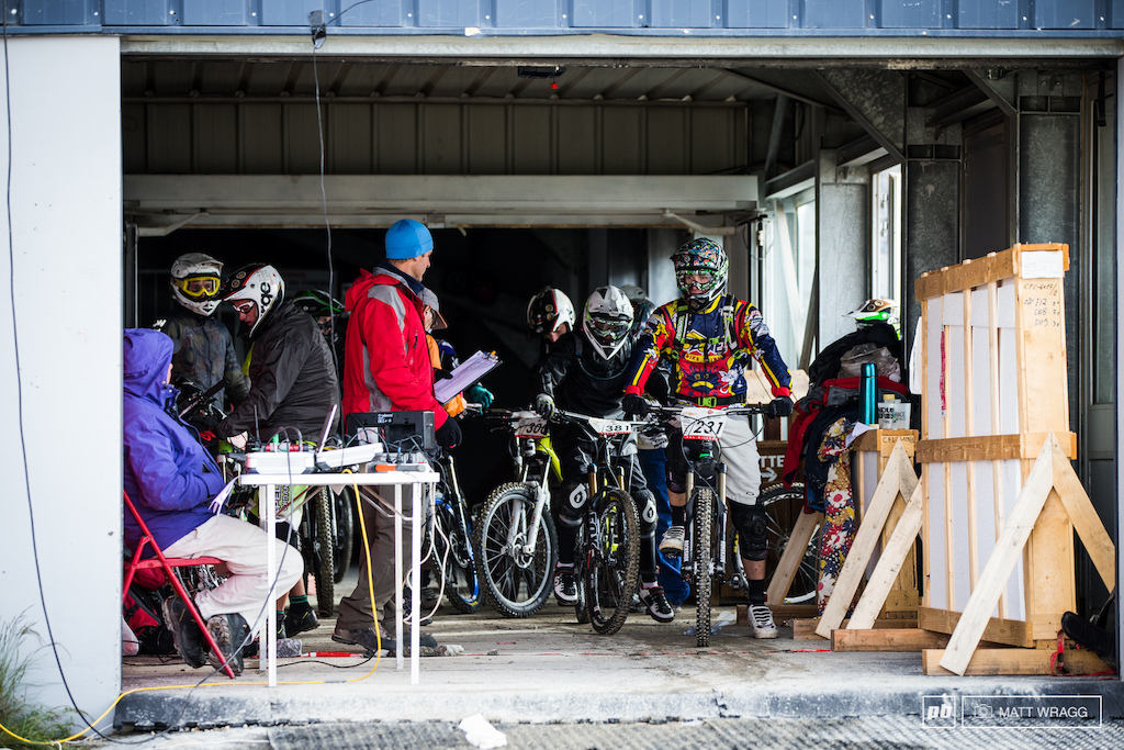 The stage started in this garage alongside the chairlift station.