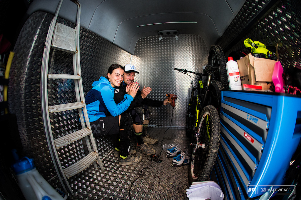 In between runs Manuel Ducci and Valentina Macheda huddled in their van and improvised a way to get warm.