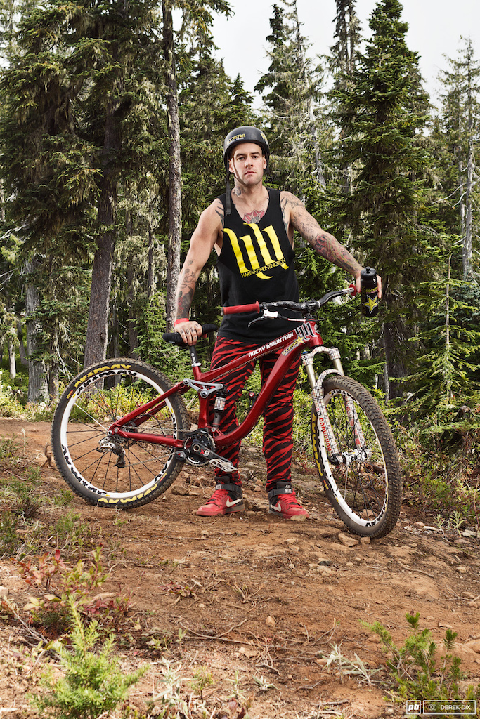 Jordie Lunn with his Rocky Mountain pattern match fork to pants combo.