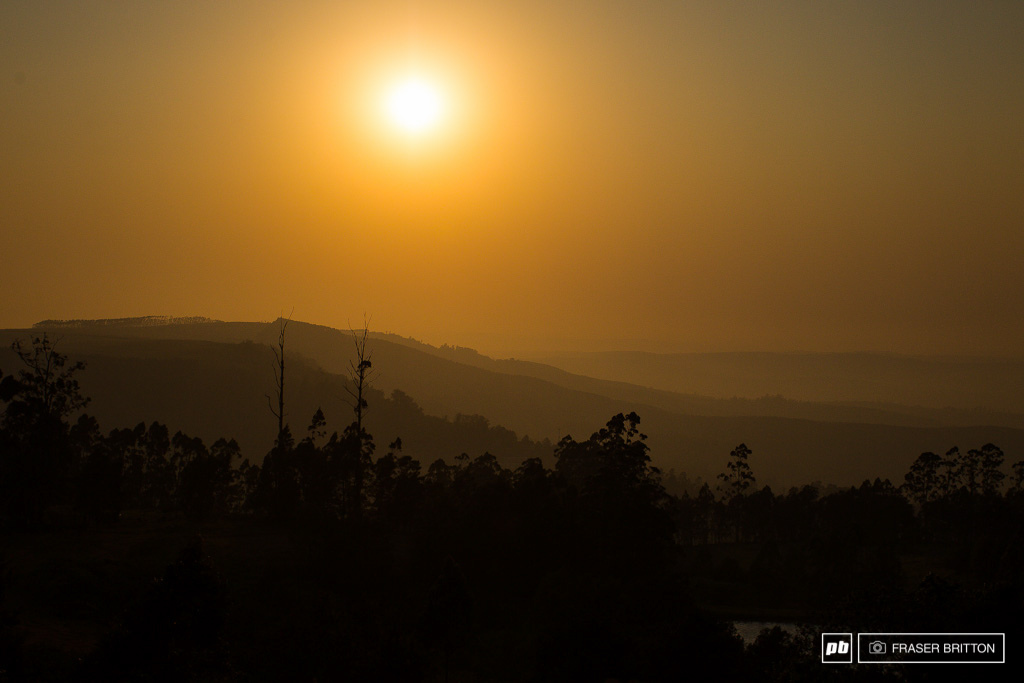 The sun rises over the 2013 World Championship downhill track here in Pietermaritzburg South Africa.