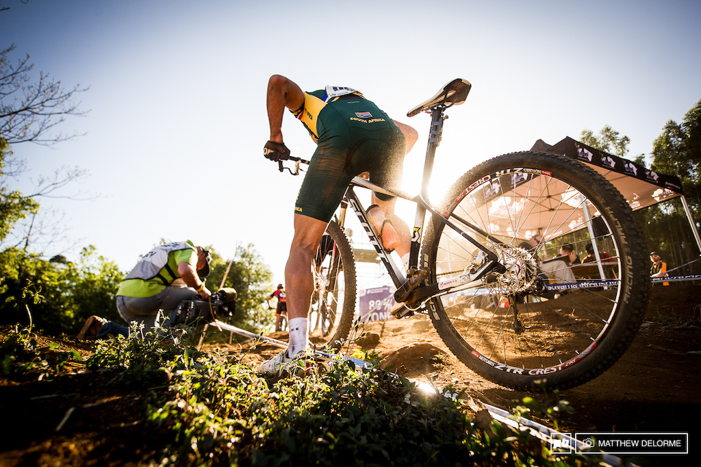Dusty, loose short steeps mean dabbing and loosing time if you are off line.