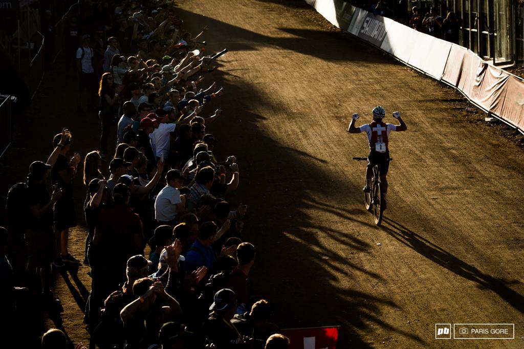 2013 World Champion Nino Schurter up ahead by a long shadow.