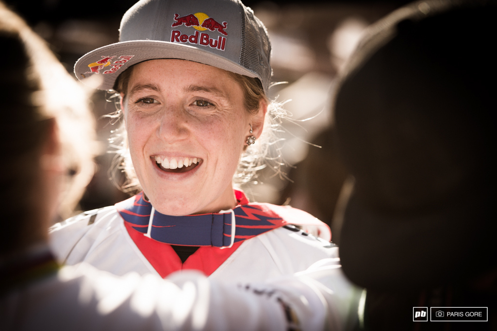 Rachel all smiles on her Champs win.
