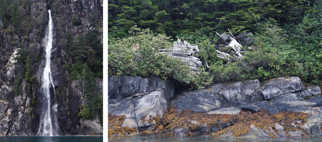 200 foot high waterfall into the inlet and the remains of an abandoned cabin came furnished with a washer and dryer. The sheer force of the natural up Toba Inlet is daunting which is why the majority of settlements do not last long and more or less exist as camps which are left once resources are extracted.