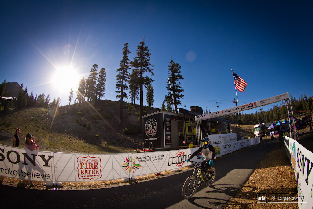 Strait crossing the finish line and headed strait for Dual Slalom Qualifying.