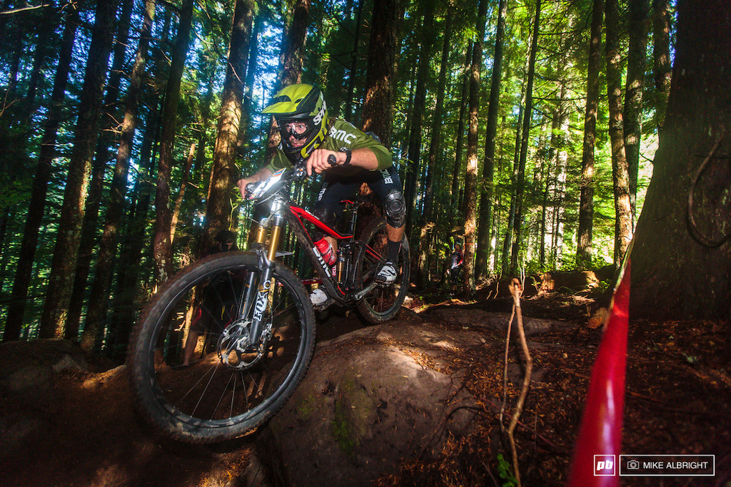 Aaron Bradford starts stage 1 on Sandy s Ridge s newer trails Follow The Leader. The upper section here was like a trials course with slick mud-covered rocks and tight technical sections that frustrated riders of all skill levels.