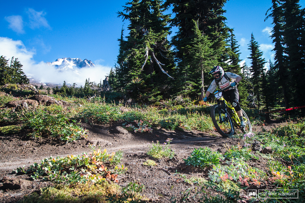 Nathan Riddle rides in front of Mt. Hood during the 2013 Oregon Enduro race.