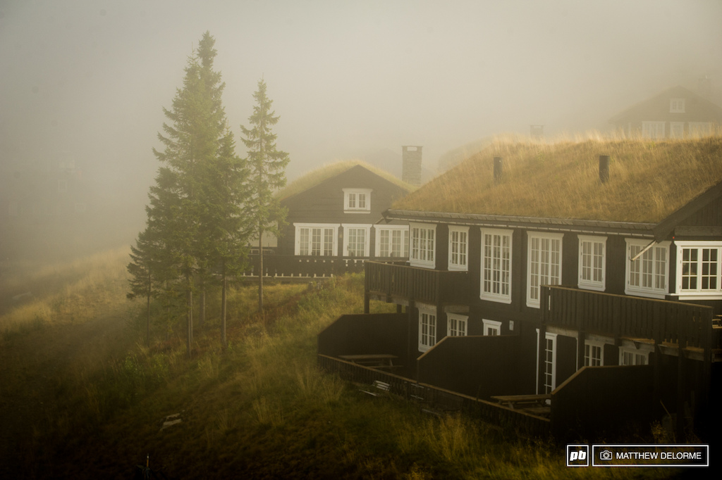 Morning fog and grassy roof tops.