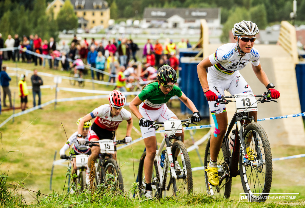 World Champ Julie Bresset could not hold of the attacks on the course in Hafjell.