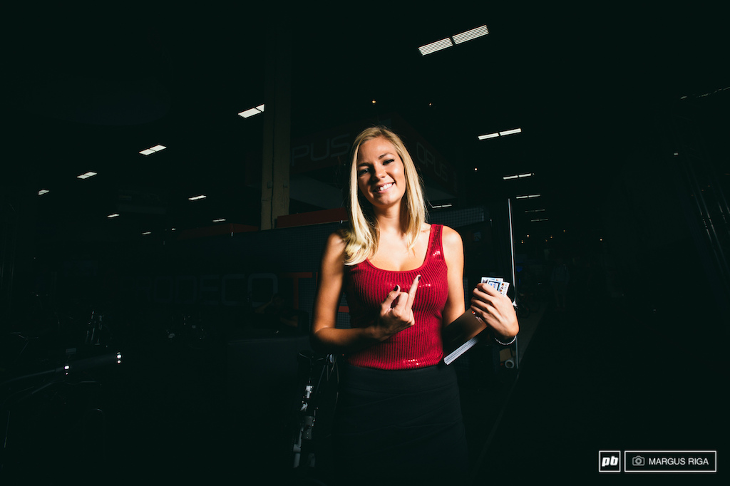 Booth babes...they may not ride bikes but they are always a welcome sight at Interbike.