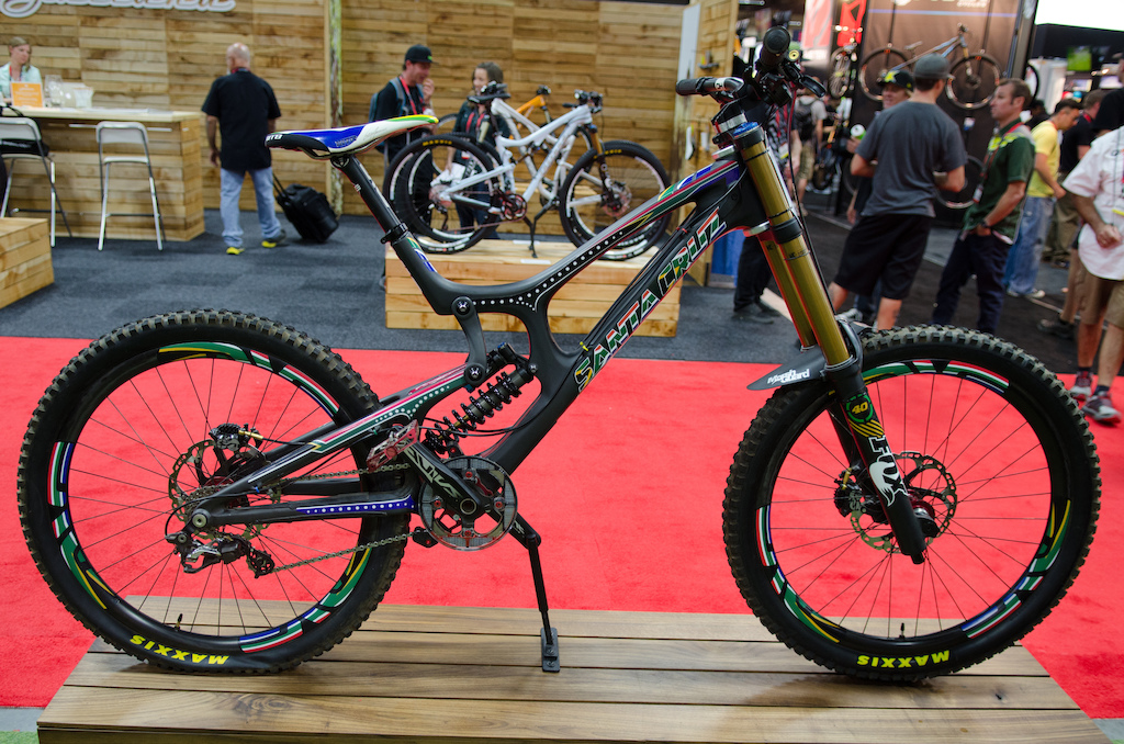 Greg Minnaar's Santa Cruz V10c, complete with the same flat tire he finished his race run with.