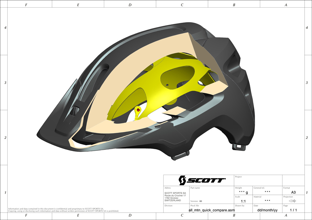 A cutaway of the new Scott Stego helmet which uses the MIPS liner.