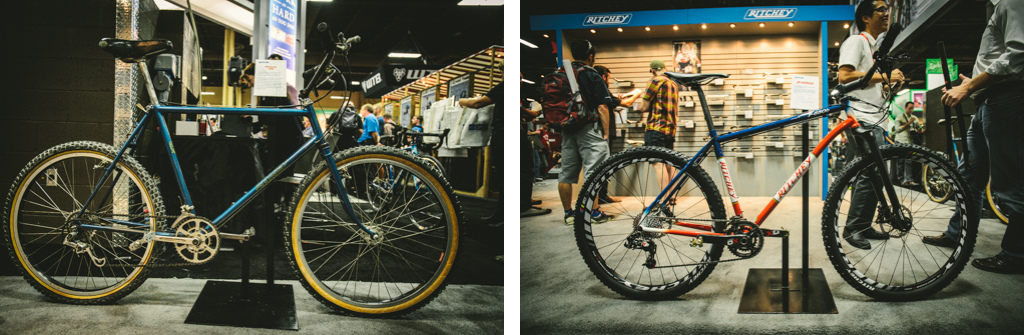 Forty years of mountain bike evolution in two photos Ritchie circa 1970 s and Ritchie circa 2013.