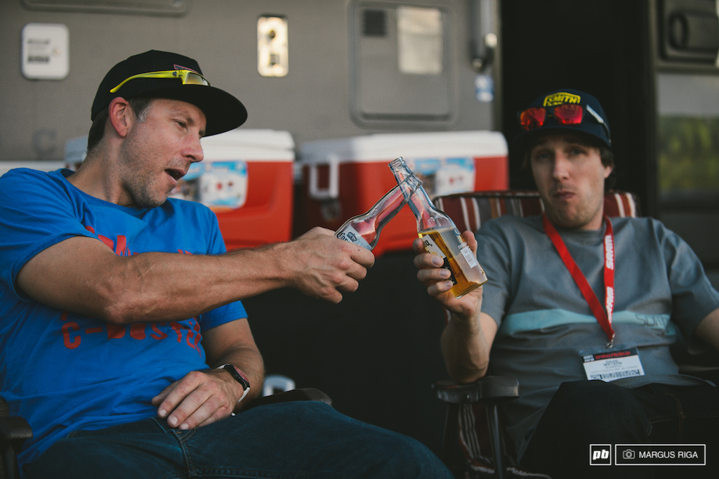Andreas Hestler of Rocky Mountain Bikes and Dave Watson of Sombrio cheers it out after a long long day at the indoor show.