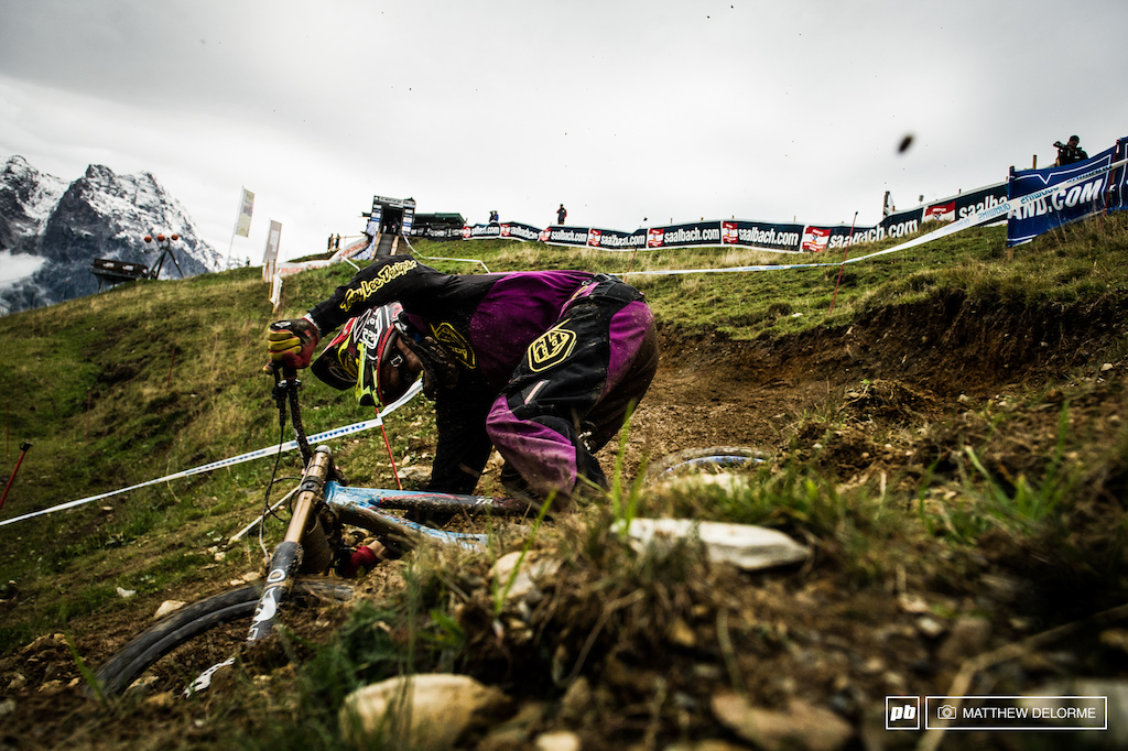 Bas Van Steenbergen diving into the first turn at Leogang.