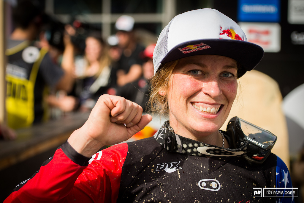 A very happy Jill Kintner landing her first podium at a World Cup. It s been a long time coming for the Olympic medalist and multi time 4X dominator.