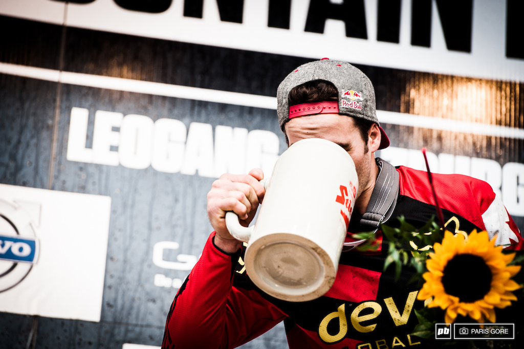 Stevie can almost fit his head inside the massive beer glass the podium winner received.