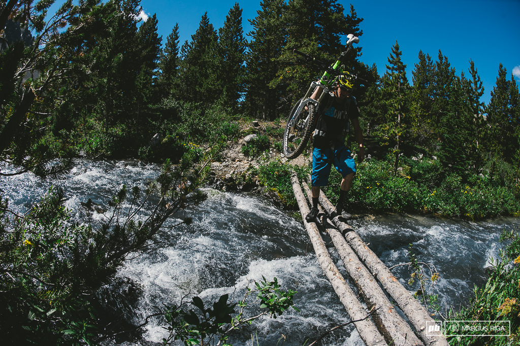 The two steps to getting across rivers in the Chilcotins. Step 1 Walk gingerly across sketchy bridge. Step 2 Don t fall in.