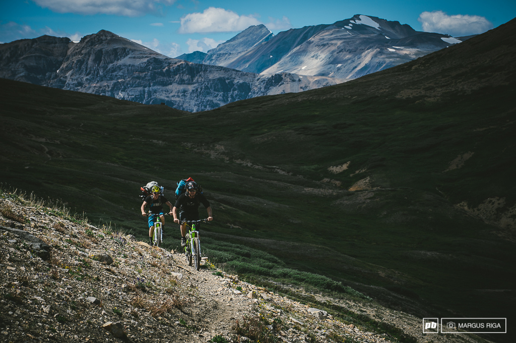 Buehler and Doerfling making their way along Elbow Pass.