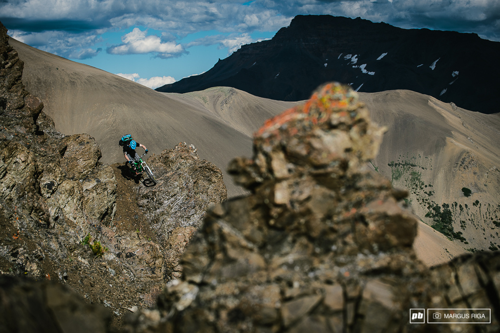 Lines as far as the eye could see. Ryan Berrecloth plays amongst the rock gardens that pepper our descent towards our camp spot for the next two nights.