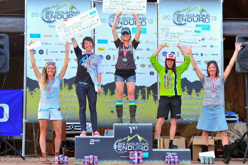 Pro Women podium for BME #5, Moab. Heather Irmiger, Rosara Joseph, Krista Park, Heidi Rentz, Beth Roberts.