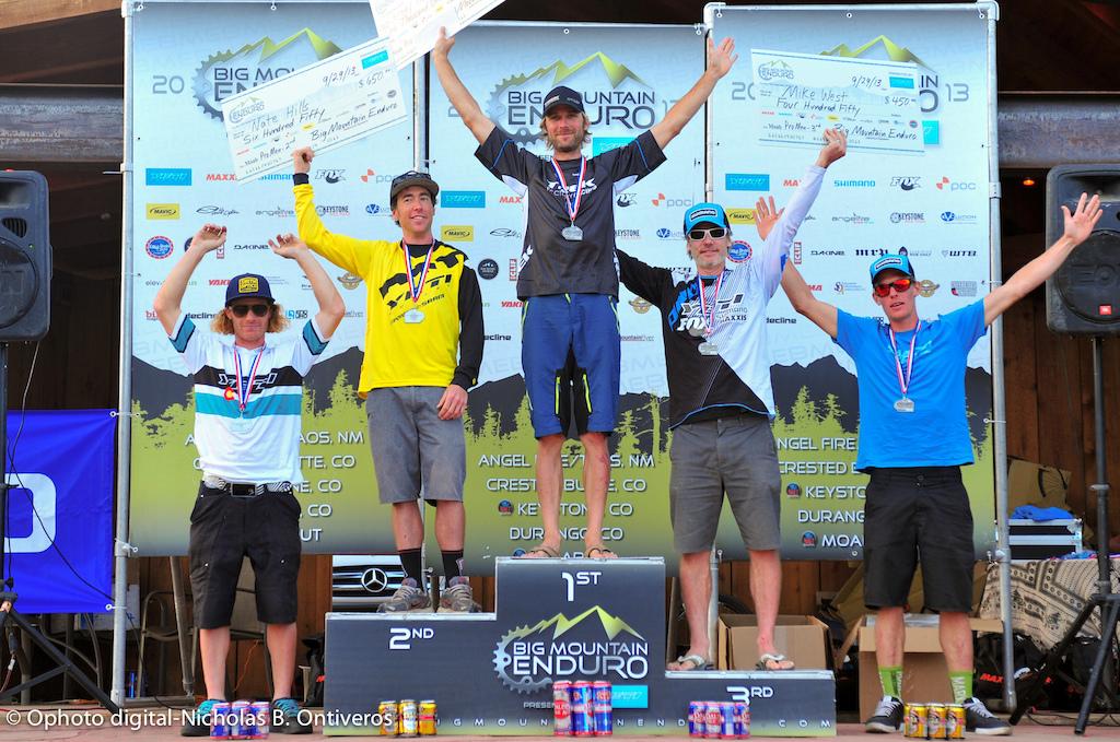 Pro Men podium for BME #5, Moab. Jeremy Horgan-Kobelski, Nate Hills, Mike West, Alex Petitdemange, Chris Johnston.