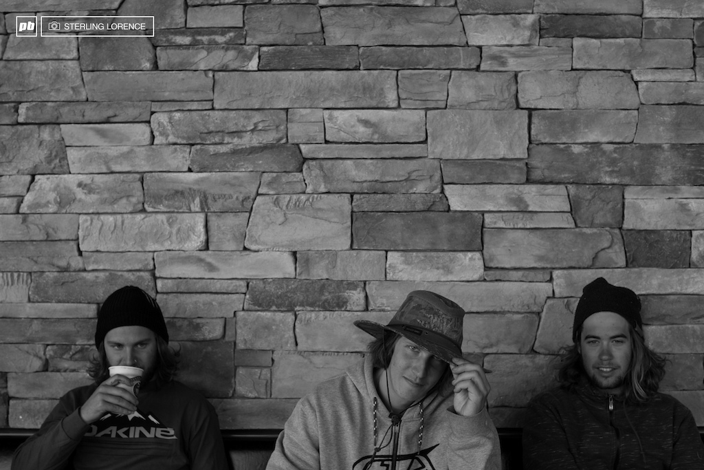 Graham Agassiz Brandon Semenuk Matt Miles take a time out on set of Brandon Semenuk s Rad Company in Kamloops BC