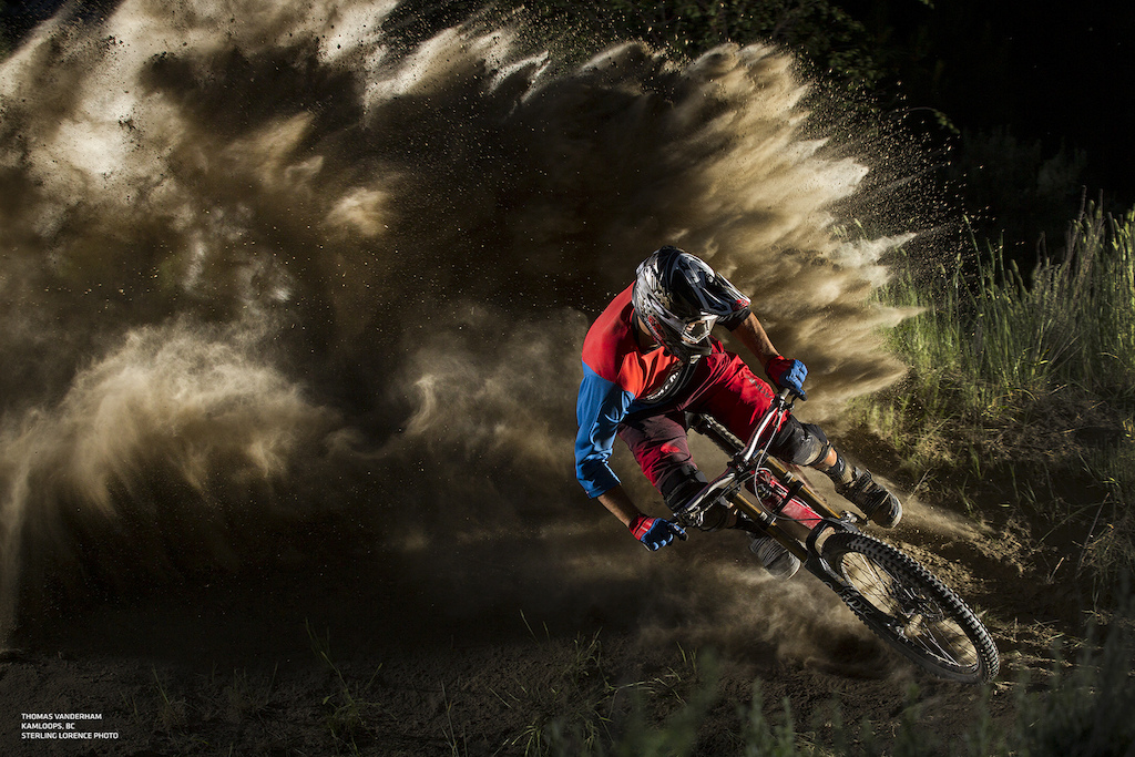 Thomas Vanderham drifts through a berm in the Kamloops Bike Ranch, BC.