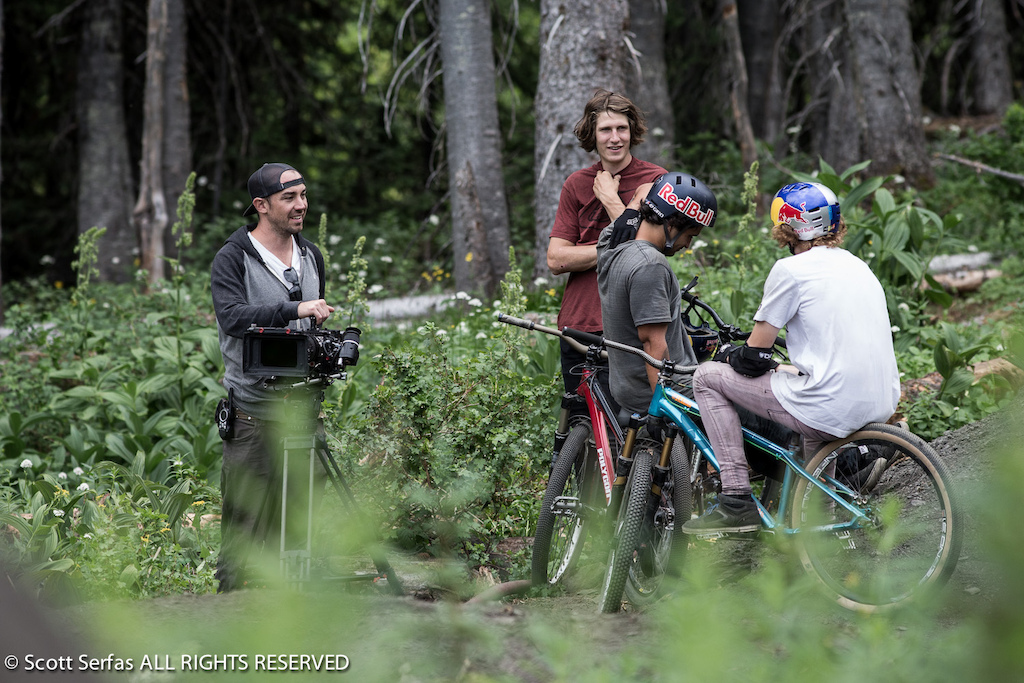 Brandon Semenuk Thomas Genon and Yannick Granieri hang out on their bikes at Retallack Lodge near Nelson BC Canada on July 30th 2013.