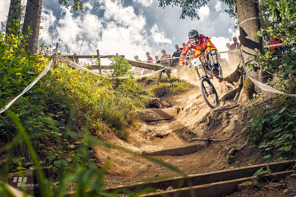 One of the last corners of the racetrack @ Wiriehorn iXS European Downhill Cup