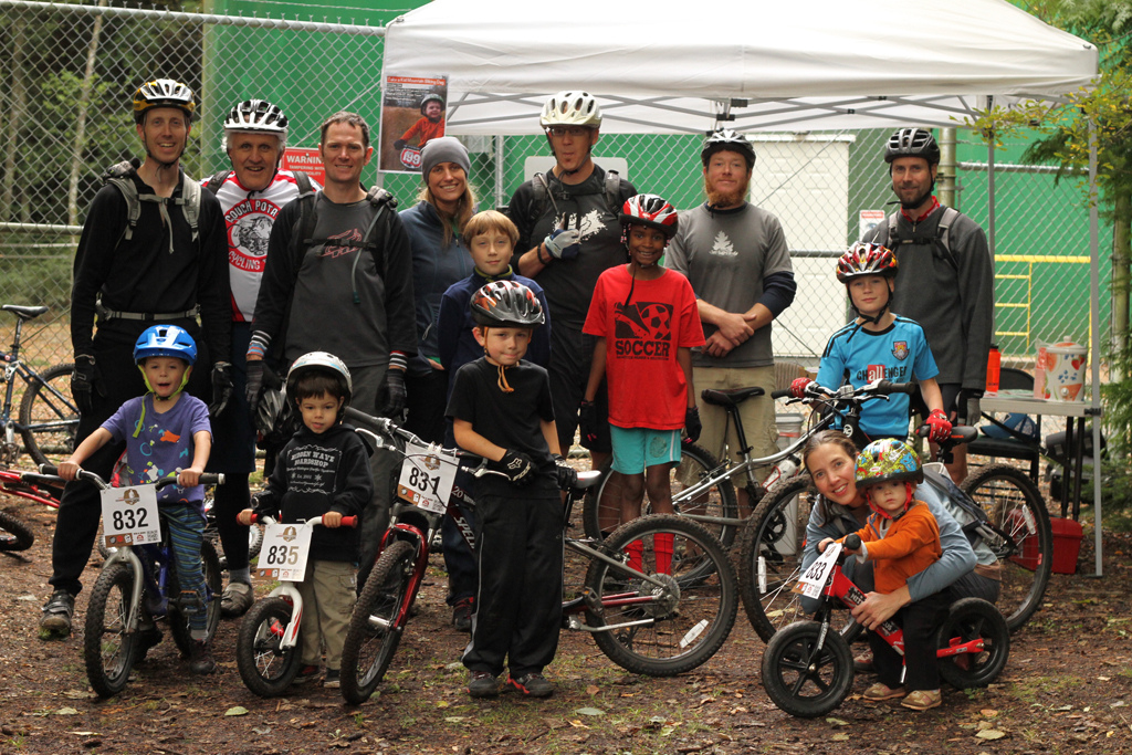 "IMBA's ""Take a kid Mt biking Day"" Anacortes Community Forest Lands.  IMBA provided juice, cookies, and number plates for all the crew of little shredders.  All ages here from 3-55."