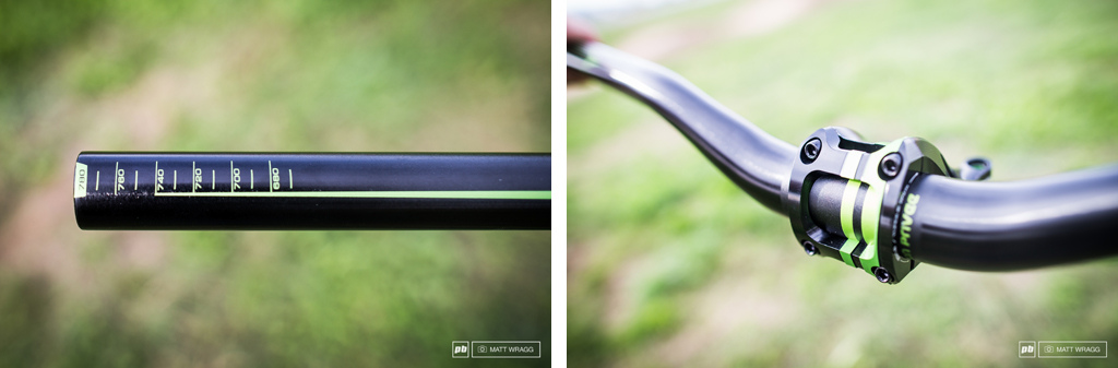 Also from the guys at Production Privee are their CG-edition cockpits. They are the same as the regular bar and stem, but are two-colour anodised to prefectly match the green of the DVO suspension Cedric uses.