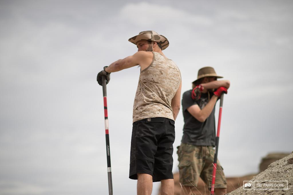Thomas Vanderham and Ross Measures scoping out Vanderham s massive ridge line hip.