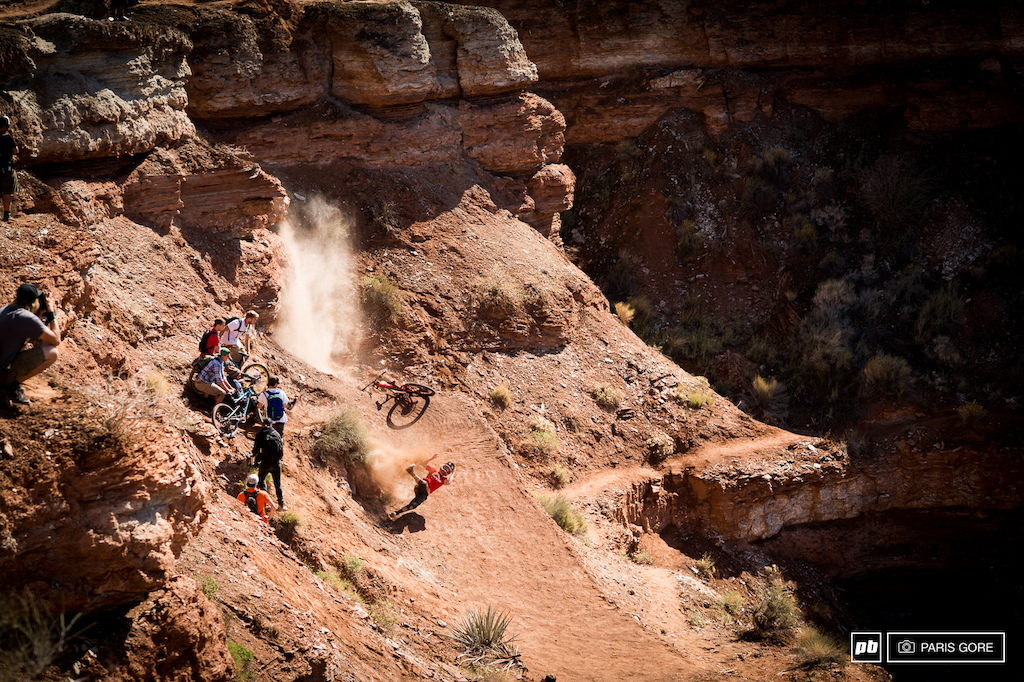 Mark Matthews busted off more rock than any pick axe has done this week at Rampage. He went down hard and has a broken femur. Carried off to Salt Lake we are all bummed to see him go down like he did. Heal up soon Mark