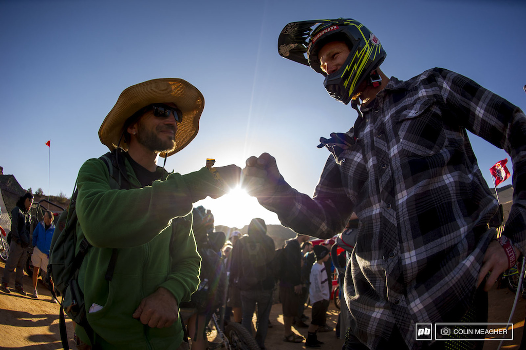 Perry Ferry fist bump before heading out to send it.