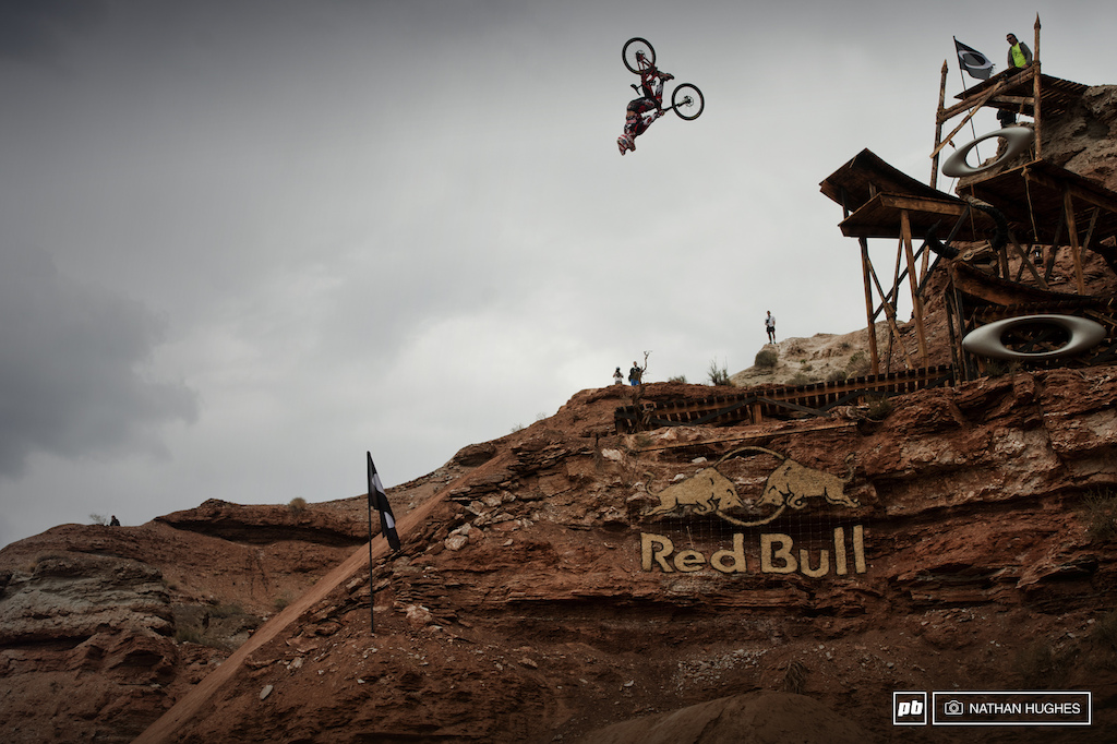 An almost perfectly executed flip off the middle booter was rewarded with a pretty horrifying fall off the side of the landing. Get well soon Logan.
