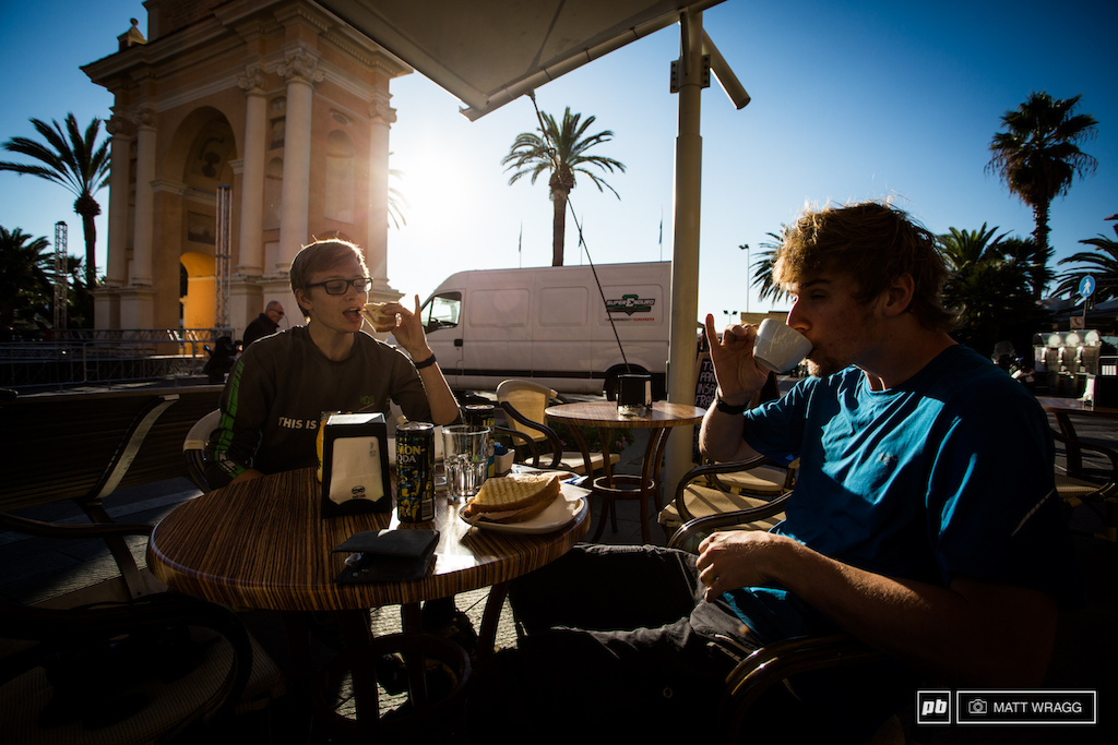 Santa Cruz have brought Joe Bowman and Duncan Philpot with them to shoot film and photos for them this weekend and they are certainly blending in with the locals in the cafes.