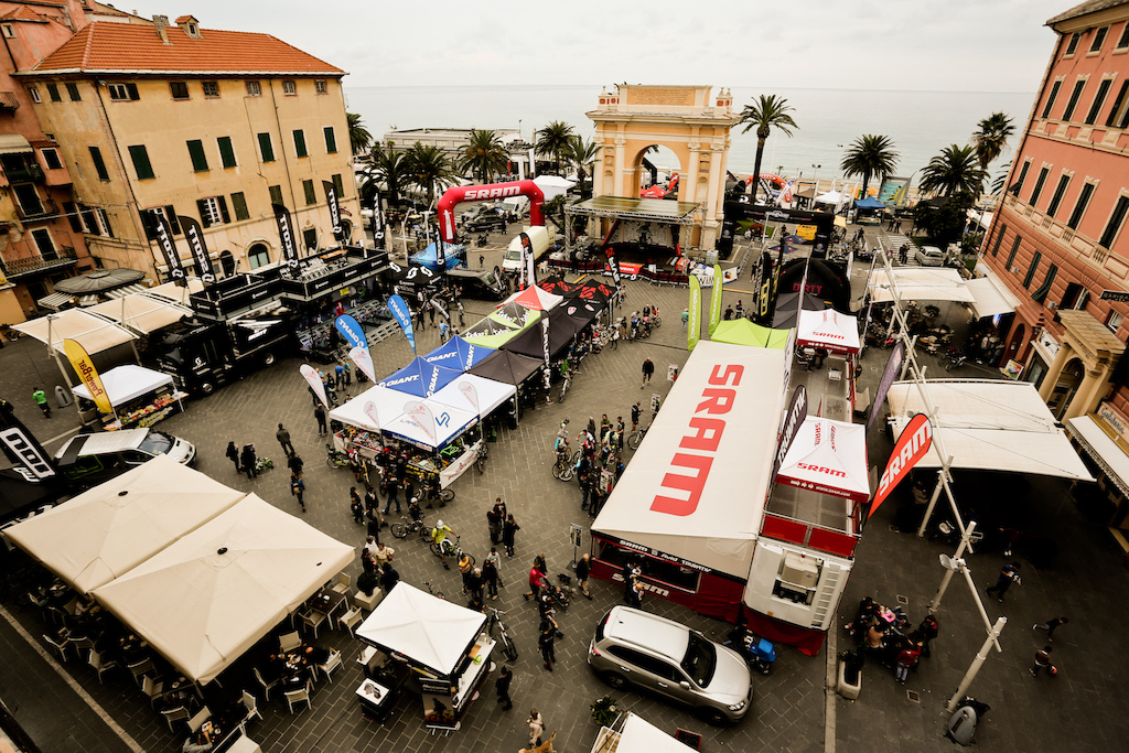 Paddock of EWS in Finale Ligure on friday after noon.