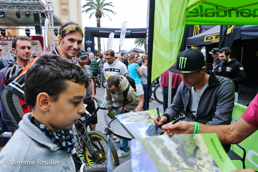 Jerome Clementz during the sign cards after the race. Lot of fans came to see the Wolrd Champion.