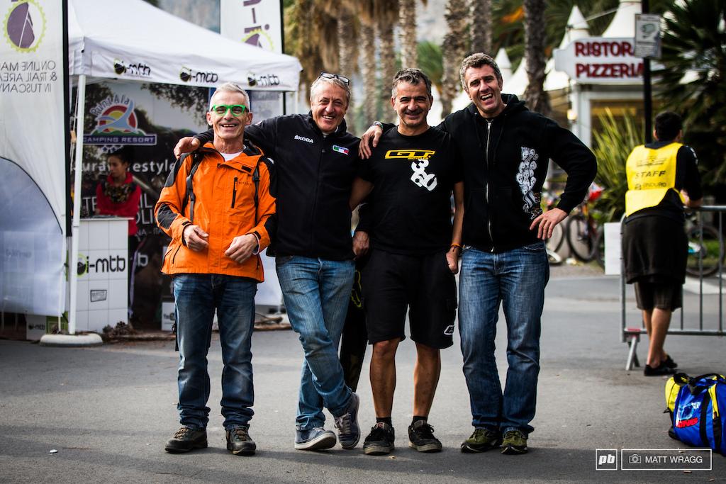 Four absolute legends of Italian mountain biking Pippo Maragni Roberto Vernassa Claudio Conte and Stefano Migliorini. Pippo built the Val di Sole World Cup track Roberto Vernassa tends San Romolo Claudio Conte the San Bartolomeo trail area and Stefano Migliorini was one of the first Italians to race World Cup DH.