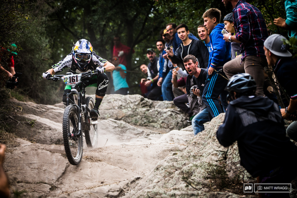 There s nothing like a bit of home turf support as Marco Fontana holds it wide open through the final steep rock section on stage five.