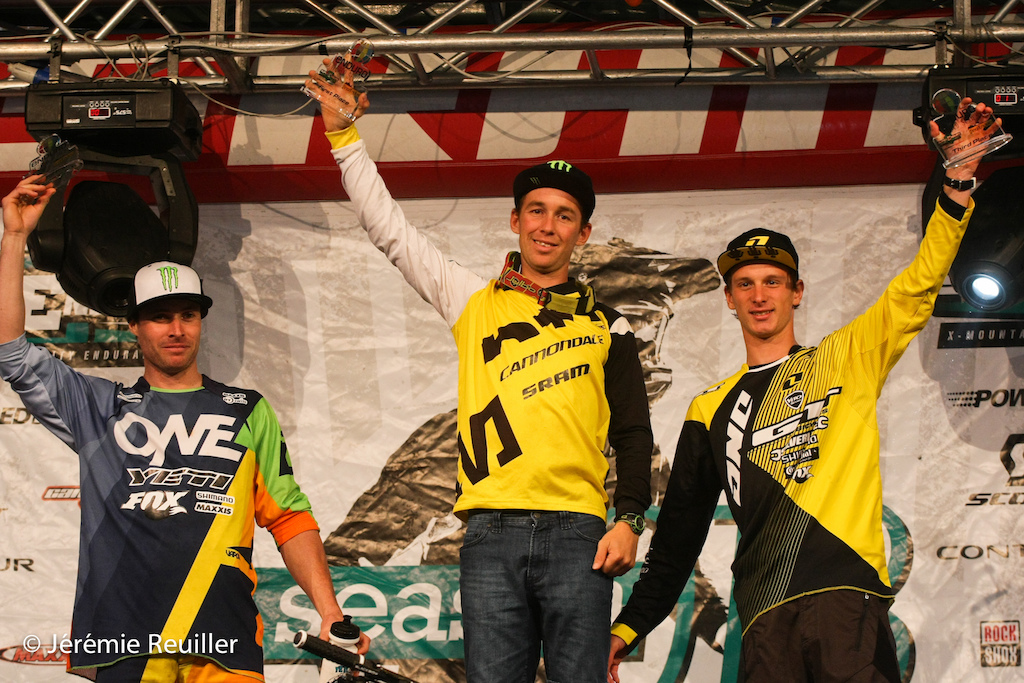 Podium of the last Episode EWS with Jerome Clementz, Jared Graves et Martin Maes.