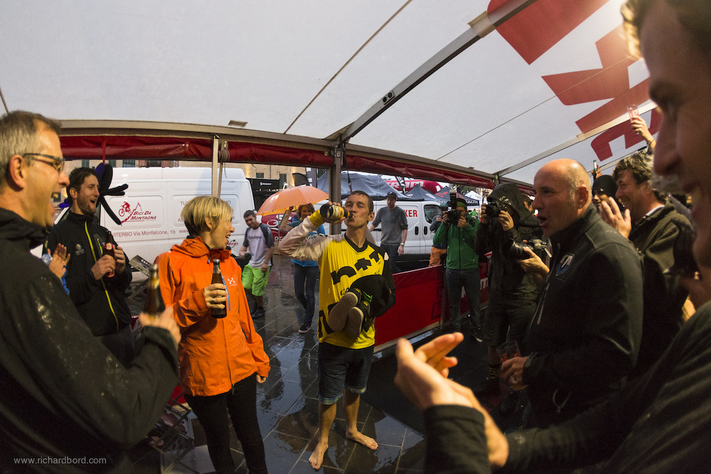 After a champagne shower and then a rain shower Jerome Clementz needed a beer to celebrate his World Champion title.
