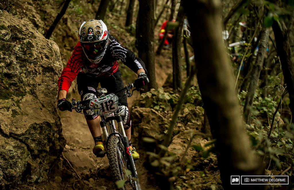Cecile Ravanel charging hard into the steep gnar of the sixth stage to take third place.