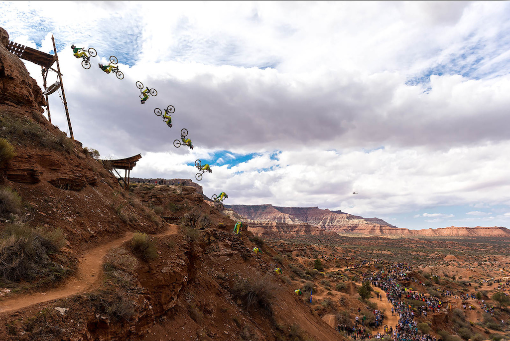 Third place finisher Cam Zink back flips the Oakley Icon Sender during finals at Red Bull Rampage, in Virgin, UT, USA, on 13 October, 2013.