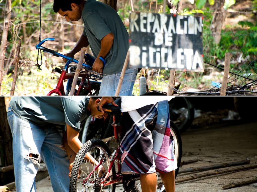Roadside bike repair shop.