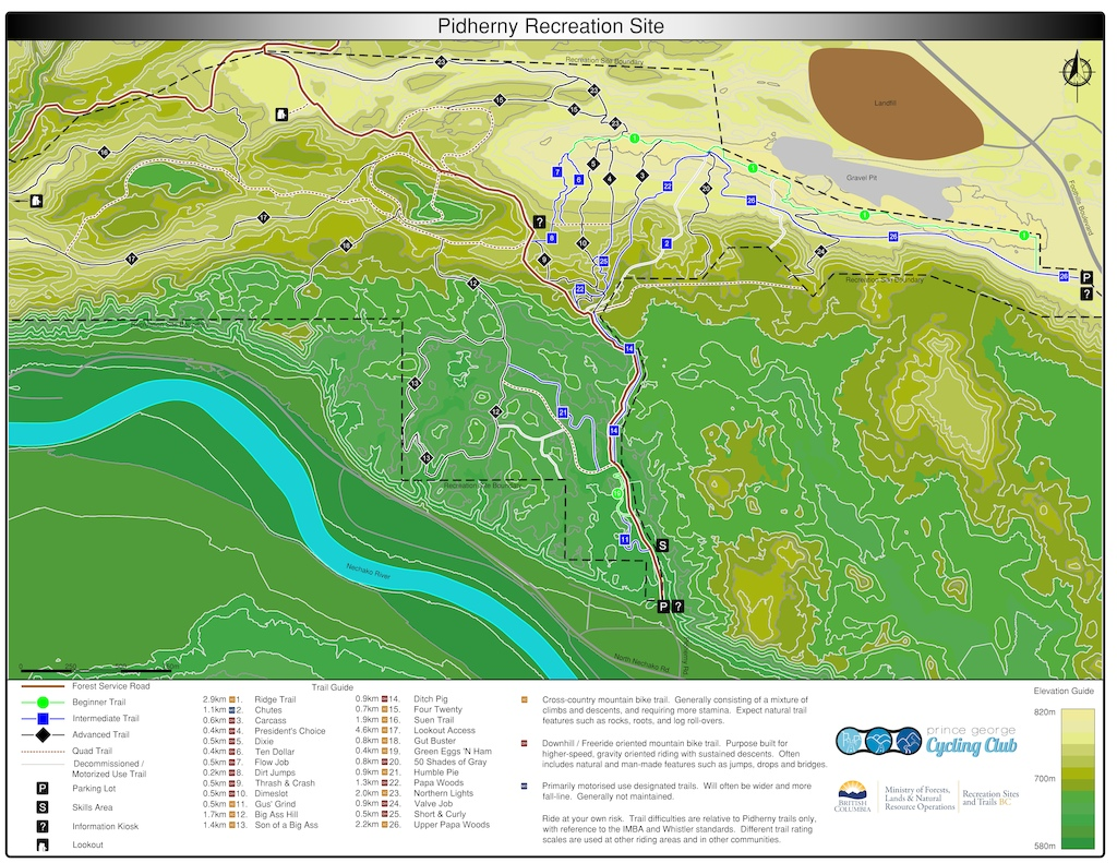 New map of the Pidherny Mountain Bike area.  Message for high-res copy is you like.