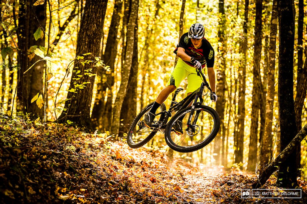 Luca getting steezy on the local trails. Yes, he can throw around 29 inch wheels just as well as he can 26 inch wheels.